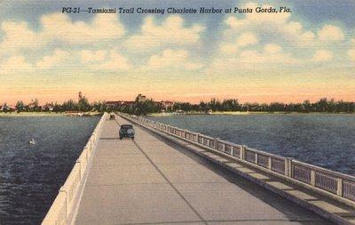 Old postcard, of Tamiami Trail near Port Charlotte.
