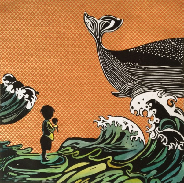 By: Annie Lee-Zimerle Title: A Whale Watcher Medium: Wood Engraving and Paper