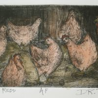 Title: Island Reds By: Doug Fiely Size: 4 x 7 in. Medium: hand colored intaglio