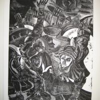 Title: Night Encounter By: Doug Fiely Size: 12x18 in. Medium: wood engraving