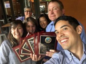 Bringing home the hardware for DCA (L-R): Carol Stover, Kari Keating, June Vargas, Laura Kujubu, Ryan Jones, and Cesar Altamirano.
