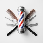 A barber pole and barbering tools