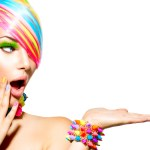 Woman with multicolored hair and makeup