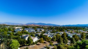 An aerial view of a Los Angeles suburb shows many trees.