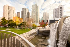 A park in San Francisco features grass and a waterfall.