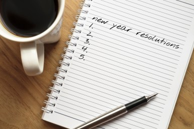 Notepad showing new year resolutions