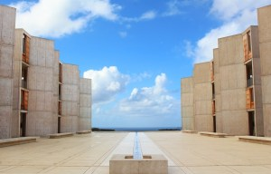 The Salk Institute features a linear fountain running toward the horizon.