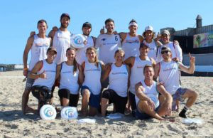 "Five Breeze players on won the OC Beach Classic with Humiliswag. AJ Jacoski, Jon Pressimone, Jonathan ""Goose"" Helton, Jonathan Neeley, Brett Matzuka. Also joined by Scandal players Theresa Hackett, Sarah Lord, Jessie O'Connor and Breeze assistant coach Sarah Itoh. photo: Robert j Banach"