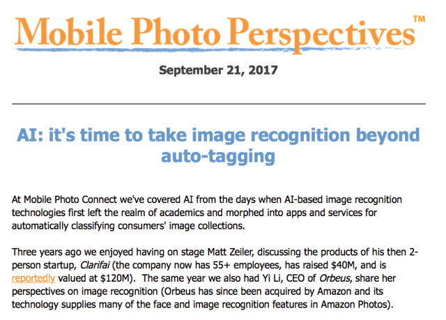 Mobile Photo Perspectives: AI: it's time to take image recognition beyond auto-tagging
