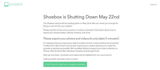 Shoebox photo storage website is shutting down