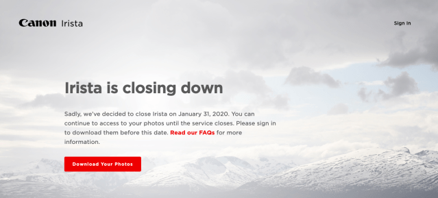 Canon closing down Irista photo storage service