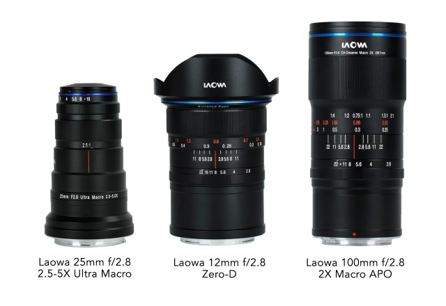 Venus Optics announces three lenses: 12mm f/2.8 Zero-D, 100mm f/2.8 2X Ultra Macro APO and 25mm f/2.8 2.5-5X Ultra Macro