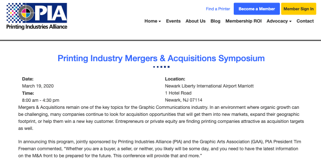 PIA, GAA to host printing industry mergers and acquisitions symposium