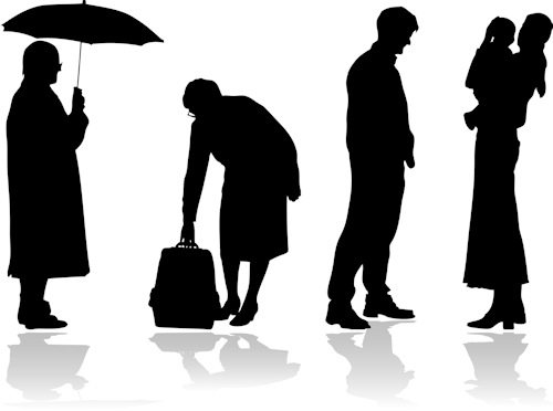 Silhouette of Multi generations of a family