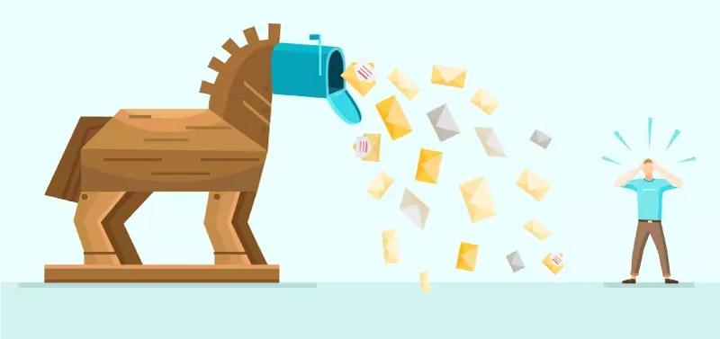 risparmia acquistando online: usa account email separati. Un cavallo di Troia che lancia le email su una persona