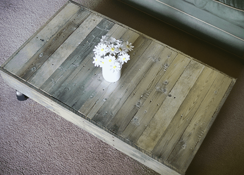 coffee table made with pallets, white colour