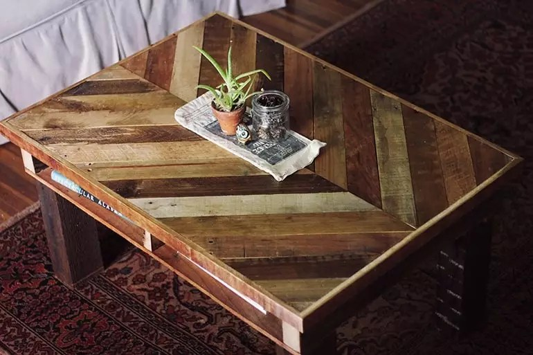 coffee table made with pallets, painted and classy