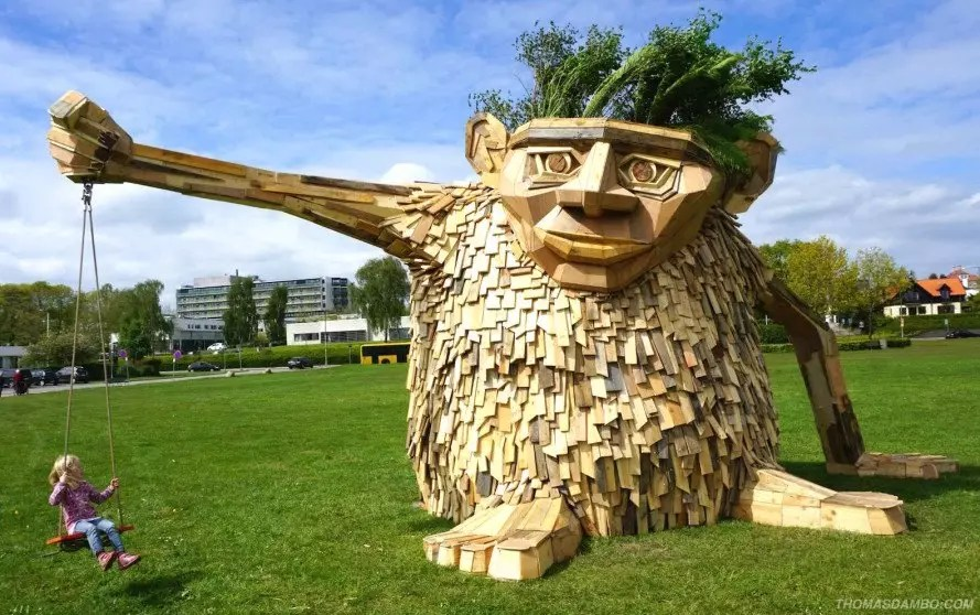 a giant troll made with pallets