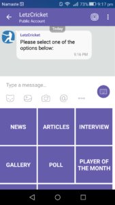 Sending structured message and keyboard menu in Viber chat bot - The