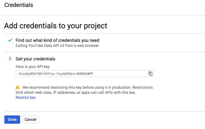 YouTube API Credentials Screen