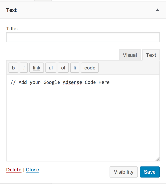 WordPress Text Widget Demo