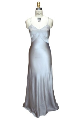 1920's Silver Silk Bias Gown