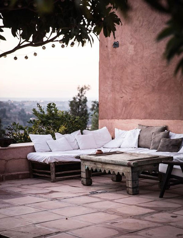 Balcony with Morocco background