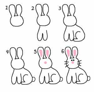 draw easter bunny easy step drawing drawings animals chick rabbit simple bunnies cartoon steps marshmallows spring kid un dibujar conejo