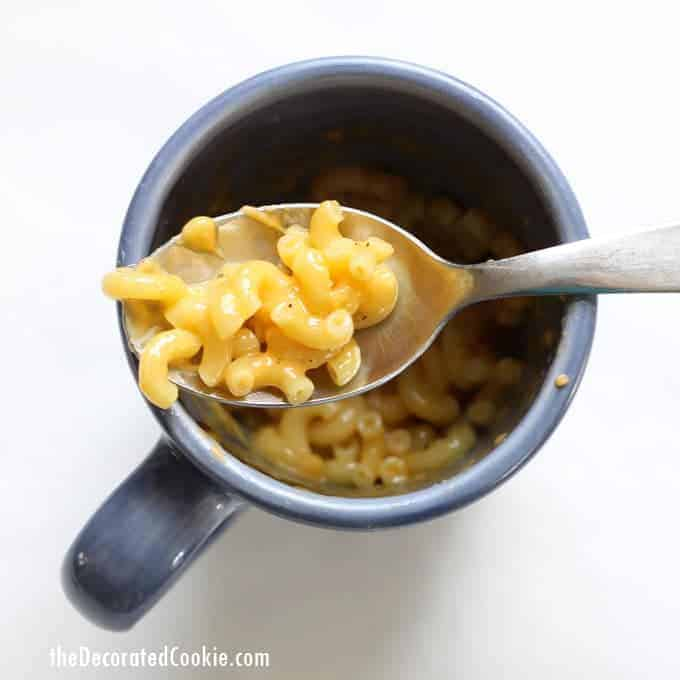 microwave mac and cheese in a mug with