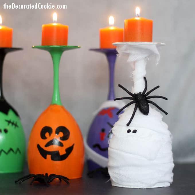 Halloween Wine Glass Candles Fun Diy Halloween Decoration