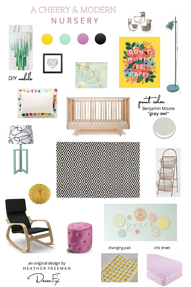 Bright and modern girls nursery