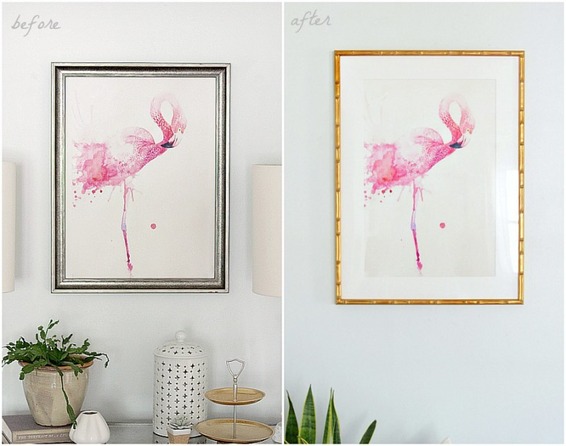 Flamingo print in Framebridge frame | The Decor Fix