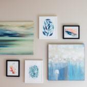 blue art gallery wall