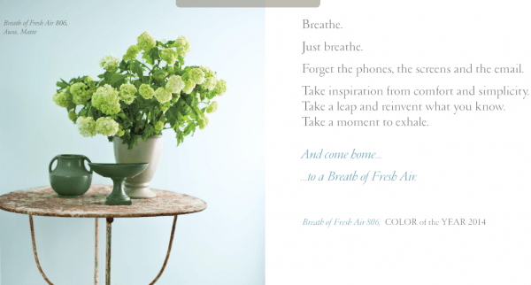 Breath of Fresh Air - Color of the Year 2014