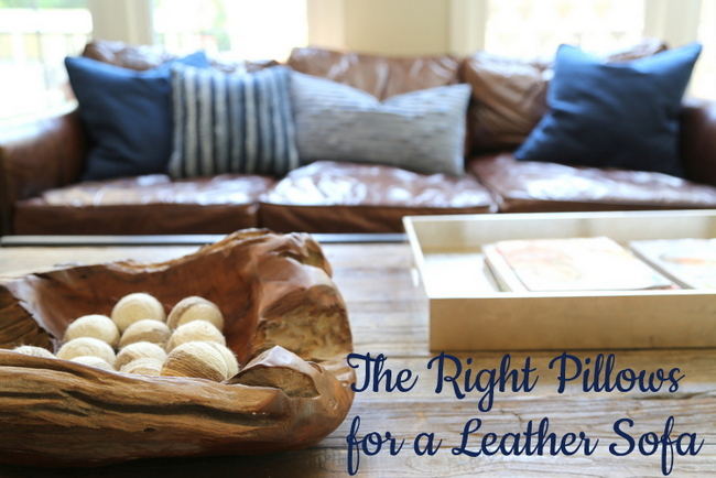 The Right Pillows for a Leather Sofa