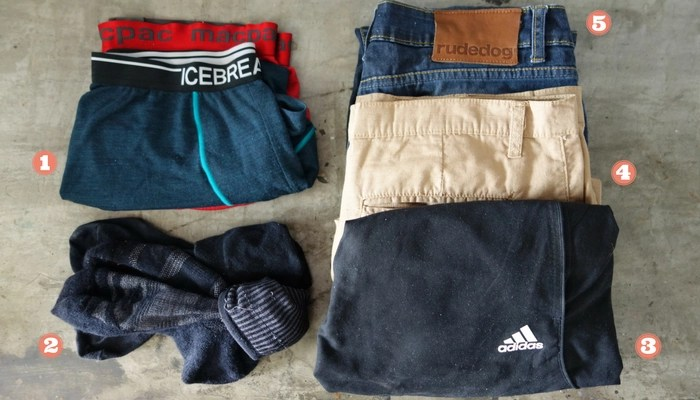 Minimalist Travel Packing List: Shorts, jeans, merino undies and socks