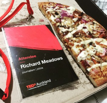 TEDx attendee lanyard - 'Richard Meadows: Journalism/Pizza'
