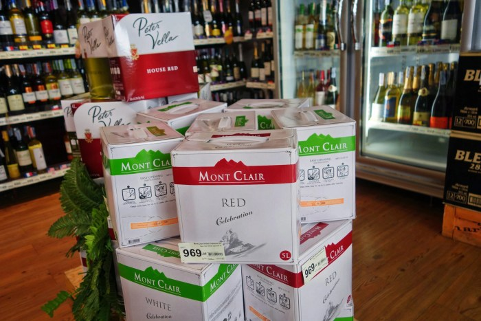 Boxed wine in Tops supermarket.