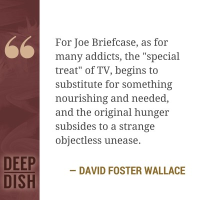 "For Joe Briefcase, as for many addicts, the ""special treat"" of TV, begins to substitute for something nourishing and needed, and the original hunger subsides to a strange objectless unease. - David Foster Wallace"