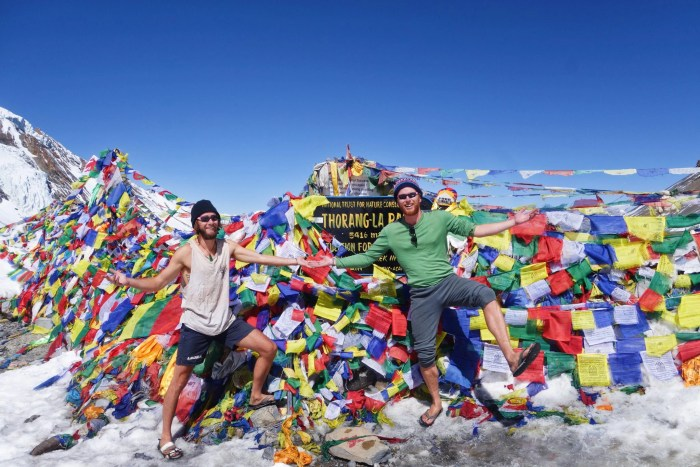 Celebrating at 5416 metres, the highest point of the Thorong La pass