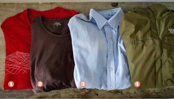 Minimalist travel packing list: Merino short and long-sleeve T, Oxford shirt, shell jacket