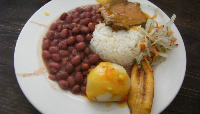 Food in Colombia: beans, rice, potato, meat, plantain, token vegetable