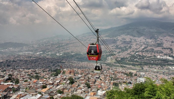 The metrocable cable cars in Medellin