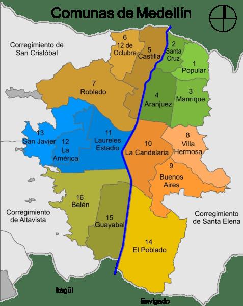 Map of Medellin comunas (neighbourhoods) including Poblado, Laureles, Envigado