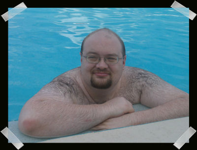 The Big Guy enjoying the pool at the resort