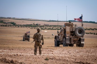 US Forces patrol Near Manbij, Syria
