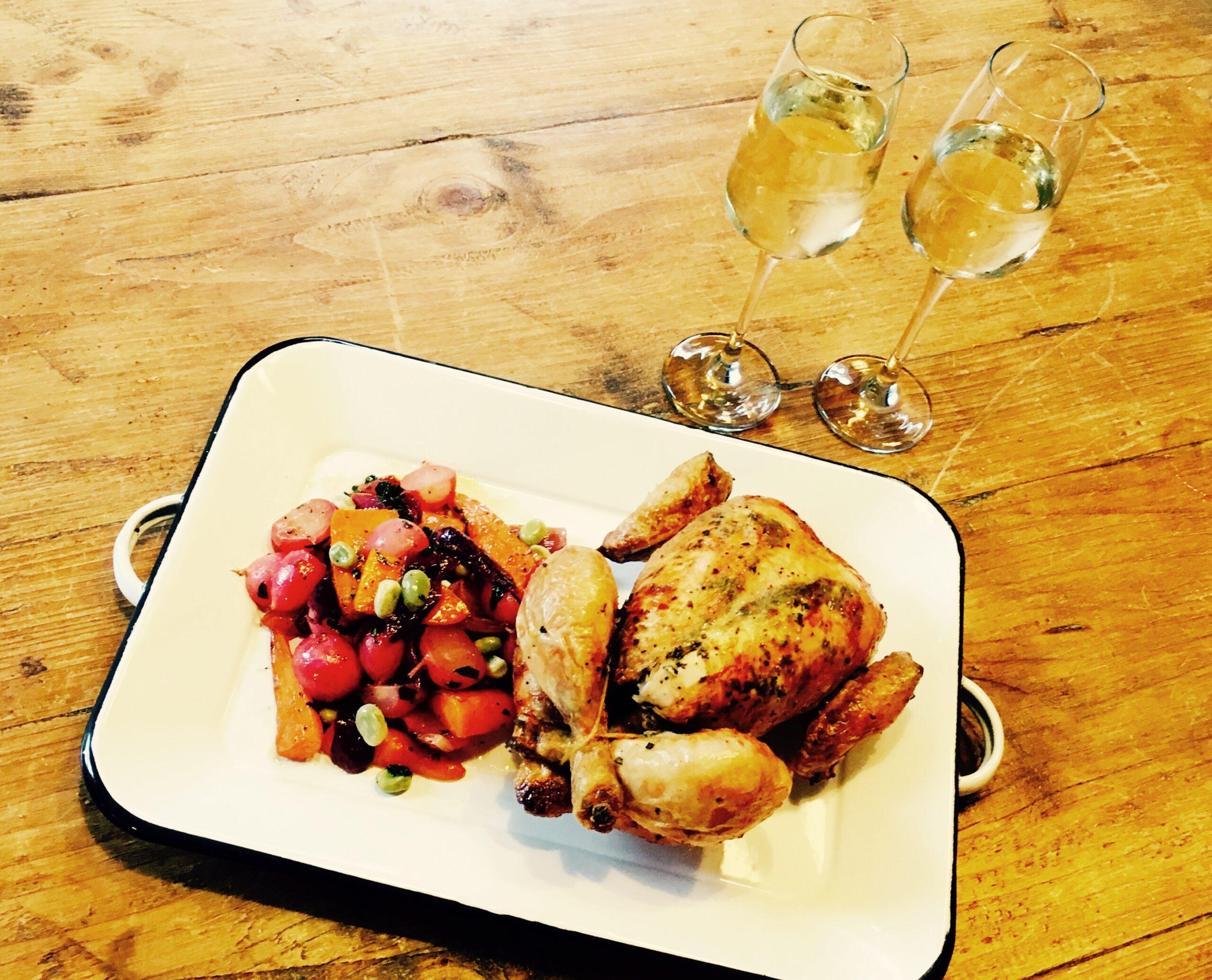 Roast Chicken with Summer Glazed Vegetables