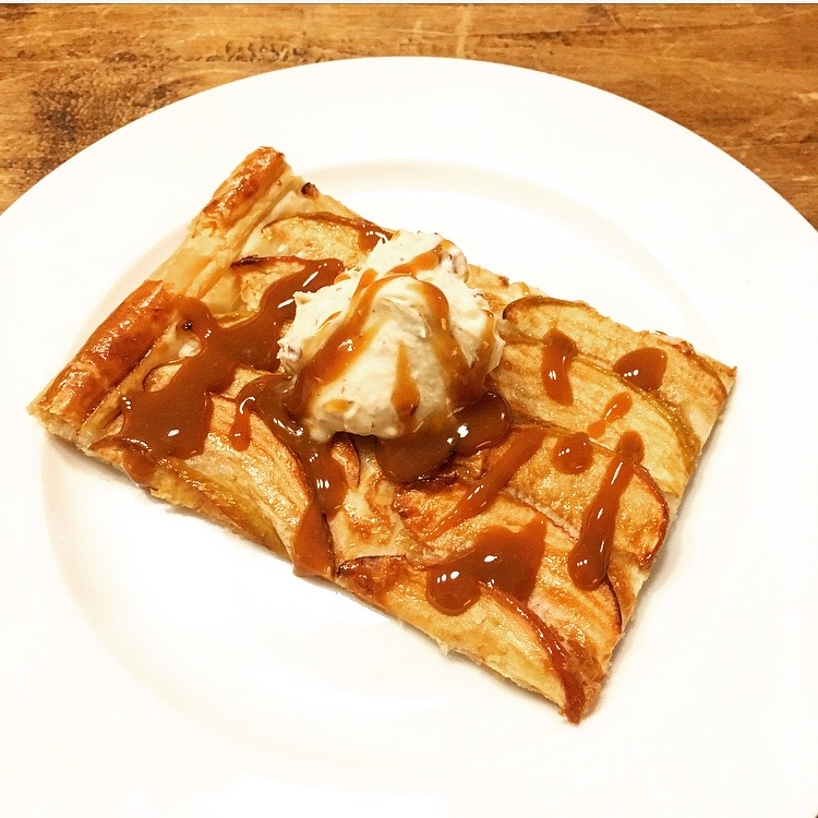 Salted Caramel Apple Tart with Peanut Butter Whipped Cream
