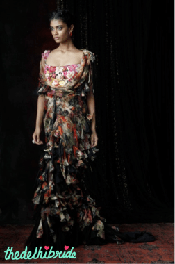 A romantic, floral digitally printed experimental drape with wild wisps and textures combined with a medieval cut, fully printed and embroidered corset