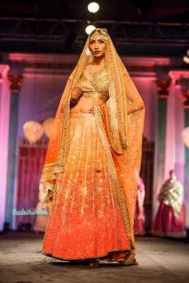 Gold and orange ombre bridal lehenga